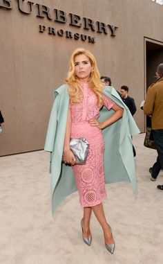 British musician Paloma Faith wearing Prorsum S/S14 as she arrives for the Burberry Menswear A/W14 show in London