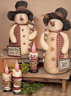 Can D Cane Primitive Snowman Doll