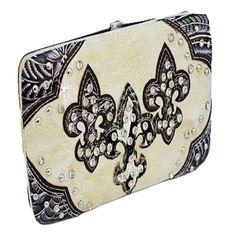 Handbags, Bling & More! Cream Western Style Triple Fleur de lis with Diamonds Wallet : Fleur De Lis Wallets