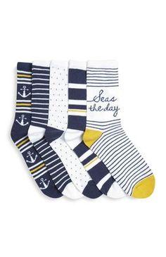 Primark - 5 paires de chaussettes à thème nautique