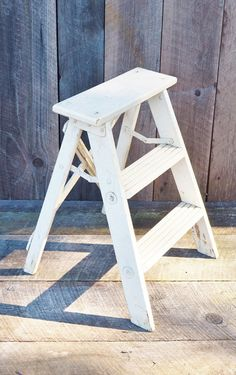 Vintage Folding Wooden Step Stool Rustic By