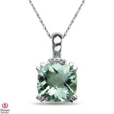 Jet NissoniJewelry presents - Ladies Diamond Accent Pendant and chain w/ Green Amethyst Silver    Model Number:P8280A-SI77GAM    https://jet.com/product/Womens-Diamond-Accent-Pendant-and-Complementary-Chain-with-Green-Amethyst-in-Ste/12c2b350709d4064bde240c5f8fb0aaa