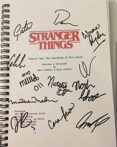 Stranger Things script cover with autographs Stranger Things Netflix, Stranger Things Quote, Stranger Things Aesthetic, Movies And Series, Tv Series, Chapter One, Foto Art, Just In Case, Nerdy