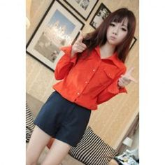 $14.89 Casual Shirt Neck Solid Color Long Sleeves Good Shape Fitted Corduroy Shirt For Women