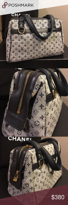 """Louis Vuitton Mini Lin Josephine PM in Blue Authentic. Very good condition with no major scratches / stains. Spotless interior.  Picture 2 shows the small glue marks. They were there when I bought it. It was the very last one in stock so I took it anyways. Price is firm unless bundled. Comes with LV dust bag (I mixed up the dust bags of all my LVs, so it might not be the original one) Strap Length: 16"""" Strap Drop: 6"""" Height: 7.25"""" Length: 10.375"""" Width: 5.25"""" Interior Features: One zipper…"""