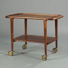 Niels O. Møller: A Brazilian rosewood serving cart with shelf. Side Table, Furniture, Shelves, Interior, Shelving, Home Decor, Homeware, Serving Cart, Mid Century