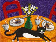 Smoking+Katze+und+Kaffee+DRUCK+von+Das+Blue+Cat+auf+DaWanda.com