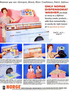 Remember, only Norge Dispensomat Washer pre-loads as many as 4 different laundry wonderful products! Retro Ads, Vintage Ads, Old Advertisements, Advertising, Cleaning Fun, Nostalgia, Beautiful Norway, Vintage Housewife, Vintage Appliances