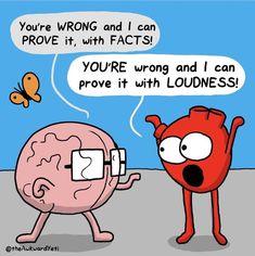 Heart And Brain Quotes, Heart And Brain Comic, Cute Comics, Funny Comics, The Awkward Yeti, Akward Yeti, Anxiety Humor, Minion Jokes, Minions