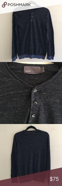 Vince. Men's Long Sleeve Henley Sweater Sz S Vince. Men's Henley in Navy with lighter blue detailing. Vince Sweaters