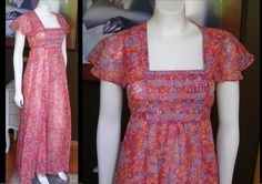 Vintage 1970s Orange Red Floral Calico Prairie Dress Butterfly Wing Sleeves Larger Size Maxi Dress by WestCoastVintageRSL, $58.00