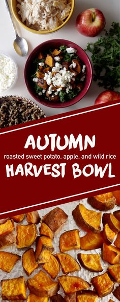 Fall Harvest Bowl - wild rice, roasted sweet potatoes, kale, apples, and goat cheese | www.thebatterthickens #harvestbowl #sweetpotato #wildrice