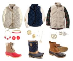 """Vests and Bean Boots:)"" by amandamurray-13 ❤ liked on Polyvore featuring Tory Burch, J.Crew, L.L.Bean, Brooks Brothers, Patagonia, Fenton, Kate Spade and Bounkit"