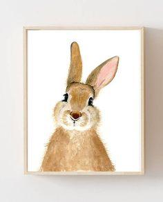 CUSTOM for MELISSA--Watercolor bunny, rabbit, Woodland nursery, Animal Paintings, watercolor animal Baby Animal Nursery, Bunny Nursery, Baby Animals, Nursery Decor, Rabbit Drawing, Rabbit Art, Bunny Rabbit, Animal Art Prints, Animal Paintings