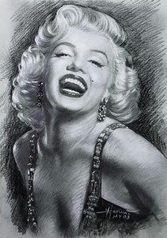 Marilyn Monroe drawing by Artcollector Viola - media: pastel and charcoal #Art #MarilynMonroe