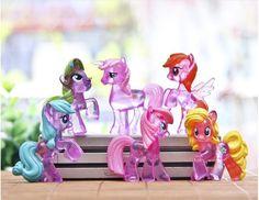 6 ピース かわいい リトル馬アクション フィギュア レインボー ダッシュ人形の おもちゃ子供の アニメ漫画送料無料