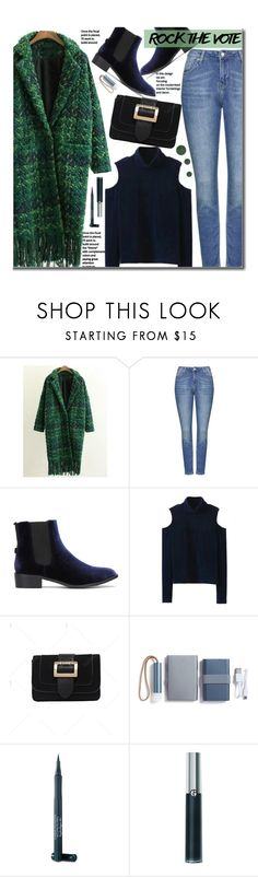 """""""Rock the Vote in Style"""" by beebeely-look ❤ liked on Polyvore featuring Topshop, LEXON, Laura Geller, Giorgio Armani, Lipstick Queen, vintage, velvet, streetwear, rockthevote and twinkledeals"""