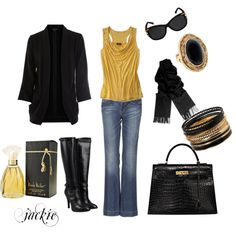 Dress up your jeans Gold and Black, created by jackie22 on Polyvore