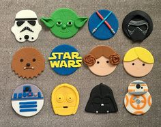 Thanks for looking! Star Wars themed fondant cupcake toppers! Perfect for kids birthday parties, play dates, or just have a good time! The set includes: Luke Skywalker, Princess Leia, R2D2, C3P0, BB-8, Kylo Ren, Chewbacca, Yoda, Storm Trooper, Darth Vader, Lightsaber, and Star Wars