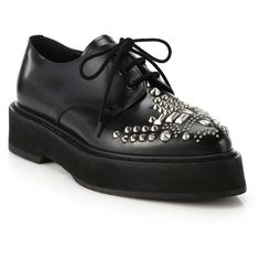 Alexander McQueen Studded Leather Platform Oxfords ($875) ❤ liked on Polyvore featuring shoes, oxfords, flats, apparel & accessories, black, black flat shoes, leather flats, platform oxfords, lace up oxford flats and black oxford shoes