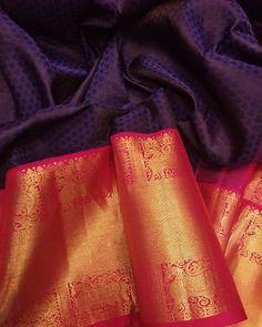 wedding saree and wedding saree indian Purple Handloom Kanjeevaram Pure Silk Saree With Animal Design Big Border Indian Bridal Sarees, Indian Wedding Wear, Bridal Silk Saree, Saree Wedding, Indian Wear, Kanjivaram Sarees Silk, Kanchipuram Saree, Pure Silk Sarees, Latest Silk Sarees