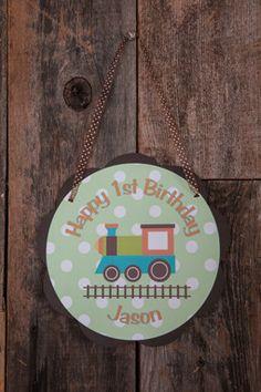 Train Door Sign Birthday - Green, Orange, & Brown