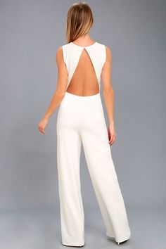 8dbf529bf765 Refine and Poise White Backless Wide-Leg Jumpsuit