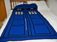 Crochet patterns for TARDIS blanket and pillow