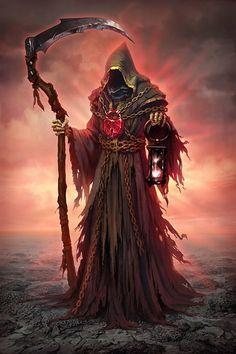 The Grim Reaper - ominous art! Death Reaper, Grim Reaper Art, Grim Reaper Tattoo, Don't Fear The Reaper, Dark Fantasy Art, Fantasy Artwork, Santa Muerte Prayer, Vampire, Angels And Demons