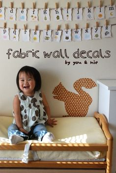 """Fabric Wall Decals: cut fabric, """"glue"""" onto wall with cornstarch/water mixure"""
