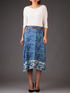 Blue Dabu Printed Natural Dyed  Wrap Around Skirt