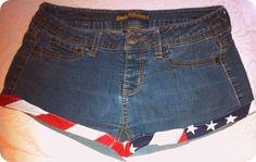 Denim Shorts with American Flag Design