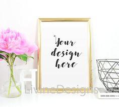 Pink Flower Rose Gold Frame Mock Up van LivineDesigns op Etsy