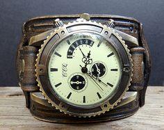 Reloj de pulsera de cuero de Steampunk por CuckooNestArtStudio