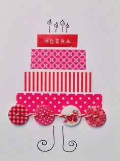 Zelf kaarten maken voor kerst/Pasen/verjaardag ect. - taart-kaart met washi tape en knopen