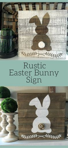 Rustic Easter bunny sign, Easter sign, Spring sign, Easter bunny sign, rustic Easter decor, Rustic Spring decor, rustic easter sign, Farmhouse Easter sign #ad