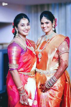 Traditional South Indian bride wearing bridal saree, jewellery and hairstyle. #IndianBridalMakeup #IndianBridalFashion #TeluguWedding #TeluguBride