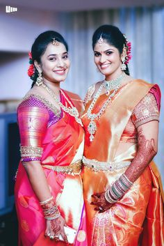 Traditional South Indian bride wearing bridal saree, jewellery and hairstyle. #IndianBridalMakeup #IndianBridalFashion #TeluguWedding #TeluguBride