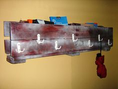 Pallet coat rack and book shelf (All in one)