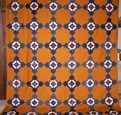 Needle Turnings: A bonnie blue cheddar quilt Orange Quilt, Yellow Quilts, Colorful Quilts, White Quilts, Primitive Quilts, Amish Quilts, Scrappy Quilts, Vintage Quilts Patterns, Antique Quilts