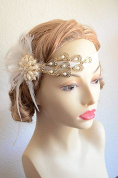 One of a KIND,READY to SHIP,Gold and Ivory headpiece,Flapper,1920s and 1930s headpiece,Gatsby Hair accessory,Gold brooches