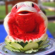Frog watermelon carving