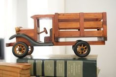 SALE Vintage Wood Toy Truck Nice Details Free by GreyRobin on Etsy