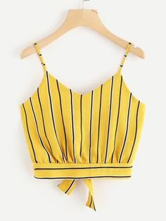 Shop Striped Split Tie Back Crop Cami Top online. SheIn offers Striped Split Tie Back Crop Cami Top & more to fit your fashionable needs. Crop Top Outfits, Cute Casual Outfits, Summer Outfits, Girls Fashion Clothes, Fashion Outfits, Clothes For Women, Cute Crop Tops, Cami Crop Top, African Print Fashion