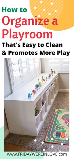 How to organize a playroom that is easy to clean and promotes more creative play. So many great tips and solutions to get the toys under control and the playroom looking fantastic no matter how big or small! Playroom Layout, Playroom Closet, Small Playroom, Toddler Playroom, Playroom Design, Playroom Ideas, Toy Storage Solutions, Storage Ideas, Ikea Boys Bedroom