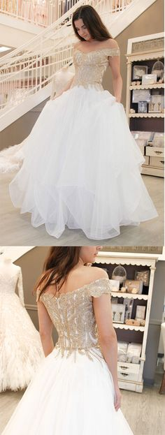 Gorgeous Prom Dress,Off the Shoulder Prom Dress,White Prom Dresses,Long Prom Dress,Gold Appliques Prom Dress #prom #white #tulle #okdresses
