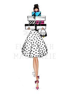 Shopaholic Girl Fashion Illustration -Fashion Illustration Print-Girly wall art-Fashion wall decor-F Illustration Mode, Illustration Fashion, Illustrations, Fashion Art, Girl Fashion, Girly, Boutique, Trending Outfits, Unique Jewelry