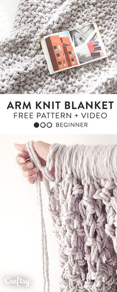 Make your own chunky, arm knit blanket with this free knitting pattern and video tutorial.