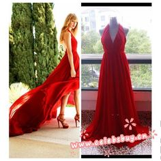 Taylor Swift Red Halter Prom Dress Cover of Delta Sky magazine $129 each at Celebsbuy.cn