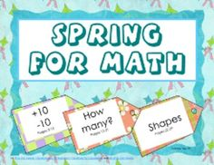 FREE SPRING FOR MATH three sets of cards for games and centers, and a set of 3D work pages with answer keys for Grades K and 1.  PDF, 40 pages, add...